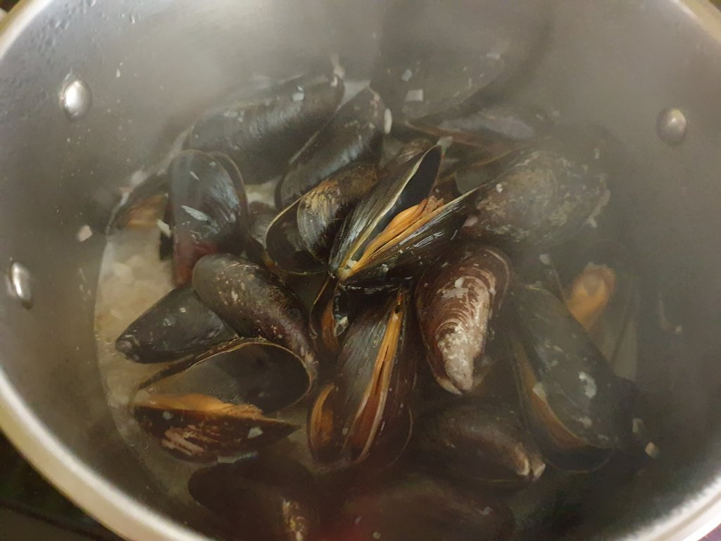 Steamed mussels in a pot