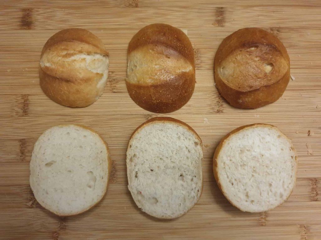Comparions of all three bread rolls