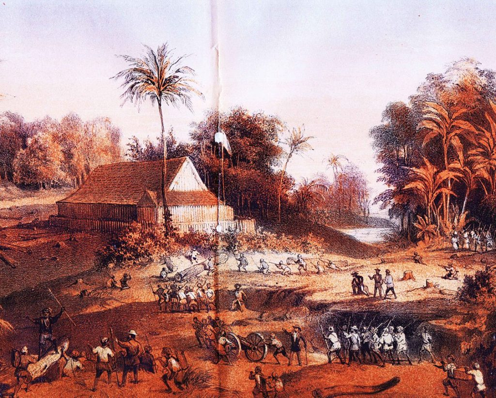 Dutch fighters during the banjarmasin war (1859-1863).